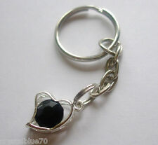 Rhinestone Heart Charm Keyring Black - Plated Silver Key Chain 65mm HC - BL