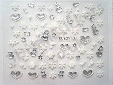Stars Snowflakes Hearts 3d Nail Art Stickers BLE254J Silver