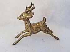 "4"" Vtg Plastic Mid Century Reindeer Deer Christmas Gold Glitter DECORATION"