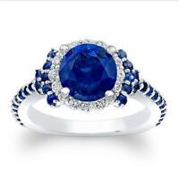 1.72 Ct Natural Diamond Natural Blue Sapphire Ring Sterling Silver Size P N23232