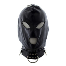 Slave Studded Leather Black Headgear Mask Hood Restraint L026