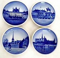 4  Miniature Blue Wall Butter Plates Denmark Aluminia Faience Beehive Mark