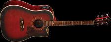 Oscar Schmidt Acoustic/Electric Dreadnought Guitar, Flame Black Cherry
