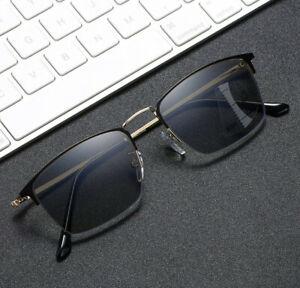 Titanium Progressive Reading Glasses Multifocal Anit Blue Transition Sunglasses