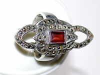 Beautiful Art Nouveau 1.0 Caret Ruby & Field of 50 Marcasite & Sterling Ring