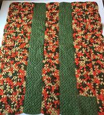 Vtg Crochet Handmade Granny Afghan Lap Throw Baby Blanket Brown Chevron 58x36