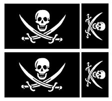 4 x drapeau de calico jack rackham pirate vinyle voiture van ipad laptop sticker