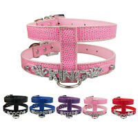 PU Leather Personalized Pet Dog Harness Free Name Charms for Puppies XS S M