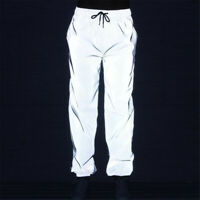 Mens Womens Tracksuit Fitness Joggers Reflective Sport Pants Gym Long Trousers