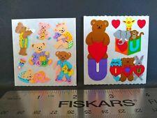 Vintage Sandylion Stickers TEDDY BEARS HEARTS Sticker Mods Lot of 2 VTG