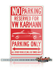 Volkswagen Karmann Ghia Convertible Reserved Parking Only 12x18 Aluminum Sign VW