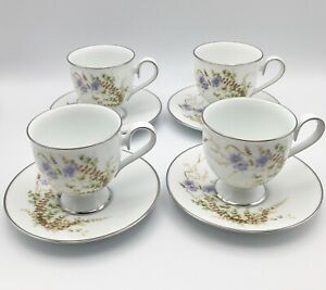 Vintage Set of 4 Noritake Ireland Edenberry Tea Coffee Cups And Saucers