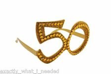 50th Birthday Novelty Fun Gift Party Clear View Sunglasses Bling Age Glasses