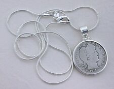 1911 BARBER SILVER QUARTER STERLING SILVER PENDANT FREE CHAIN ebs6496