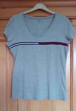 Tommy Hilfiger Ladies Grey with Stripe V Neck Short Sleeve Cotton T Shirt Medium