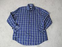 Peter Millar Button Up Shirt Adult Large Purple White Plaid Long Sleeve Mens