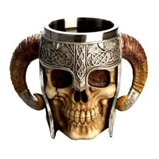 3d Viking Stainless Steel Coffee Drinking Skull Mugs Horn Beer Tankard Cup Party