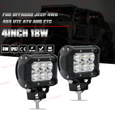 2x Offroad Led Work Driving Lights Spot Fog ATV Bike Jeep SUV 4in 18W Cube Pods