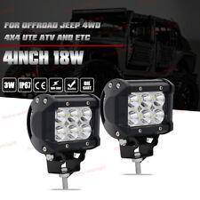 2x 4inch 18W Cree Spot Led Work Light Fog Reverse Cube Pods Offroad SUV ATV UTE