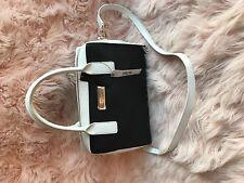 DKNY Handbag Saffiano Shoulder Bag Tote Satchel Black White $275