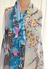 Womans Fashion Scarf Accessory Lightweight Floral Blue Multi Smart Colourful