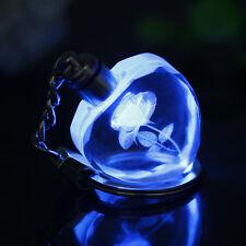 Creative Luminous Keyring Heart Crystal LED Light 3D Rose Flower Key Chain Gift
