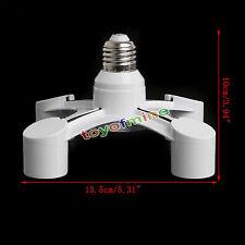 4 en 1  E27 Luz de Lámpara Bombilla Zócalo Adaptador 4 Way Splitter Blanco