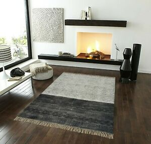 Minimal Charcoal Gradient Rug | Beautiful Handmade Area Rug for living spaces
