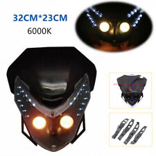 1-Motorcycle Off-road Front LED Headlamp Shade Assembly Fairing Light 12V AC&DC