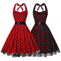Women 1950s Dress Retro Polka Dots Halter Audrey Rockabilly Cocktail Party Dress