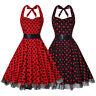 Women 1950s Dress Retro Polka Dots Halter Audrey Rockabilly Cocktail Party Dress