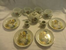 "Vintage M.J. Hummel Reutter Porcelain Mini Tea Set 16 Pcs. ""He Loves Me"""