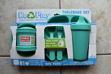 New Re-Play Re Play Green Children Tableware Set Made in USA of Recycled Plastic