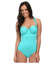 SEAFOLLY GODDESS D CUP MAILLOT 1 PIECE SWIM SUIT SEYCHELLES BLUE SZ 6 NEW! $172