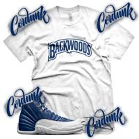White BACKWOODS T Shirt for Jordan 12 Indigo Legend Obsidian Blue Flint