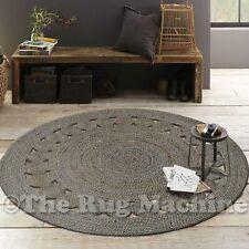 Bangle Grey Flower Braided Natural Jute Round Floor Rug 100x100cm **NEW**