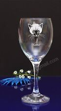 Personalised Cat engraved wine glass Birthday,Christmas gift present191