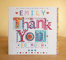Thank you greeting card. Special personalised with name thank you card. Thanks