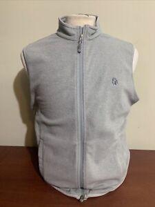 Peter MIllar Men's Medium Micro Fleece Full Zip Gale Grey Golf Vest NEW w logo
