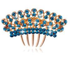 Luxury Sparkle Shiny Turquoise Blue Rainbow Wedding Hair Accessories Comb HA172