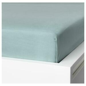 Ikea Puderviva Double Size Linen Fitted Sheet BLUE 135 x 190 x 36cm 004.200.20