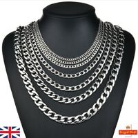 3-15mm GENUINE SOLID 310L SILVER STAINLESS STEEL Curb Link Chain Necklace