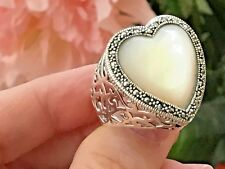 Dallas-Prince-Designs-Mother of Pearl-Marcasite-Sterling-Silver-Ring-Size-8