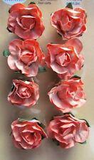 Orange Paper Roses Flowers Card Making Scrapbooking Embellishment NEW