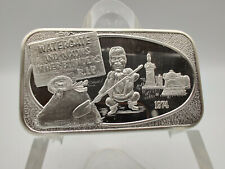 """1974 """"Watergate and Nixon's Other Blunders R.I.P."""" 1oz .999 Fine Silver Bar #187"""