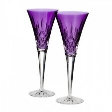 WATERFORD Lismore Jewels Toasting Flutes Amethyst Pair New #154064