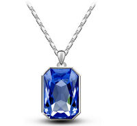 Dark Royal Blue & Silver Rectangle Pendant Crystal Necklace N414