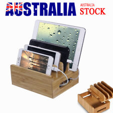 Bamboo Charging Dock Wooden Station Stand Holder for  iPhone Tablet AU STOCK
