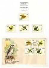 SRI LANKA 1993 FDC SET OF 4 STAMPS BIRDS OF SRI LANKA WITH MNH SET