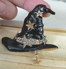 Stunning Large Black WITCHES HAT with Diamonte Stars Costume Brooch - Brand New